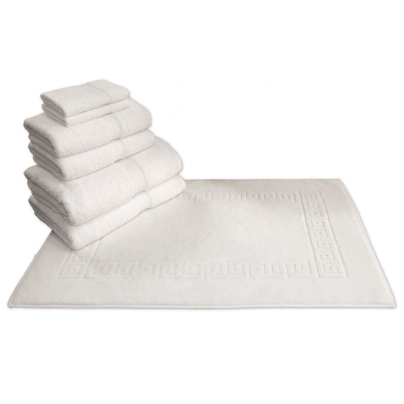 Linum Home Textiles Terry 7-pc. Bath Towel and Greek Key Bath Mat Set
