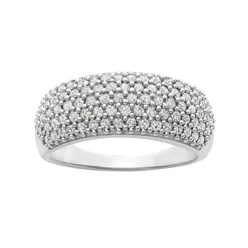 1 Carat T. W. Diamond Sterling Silver Ring