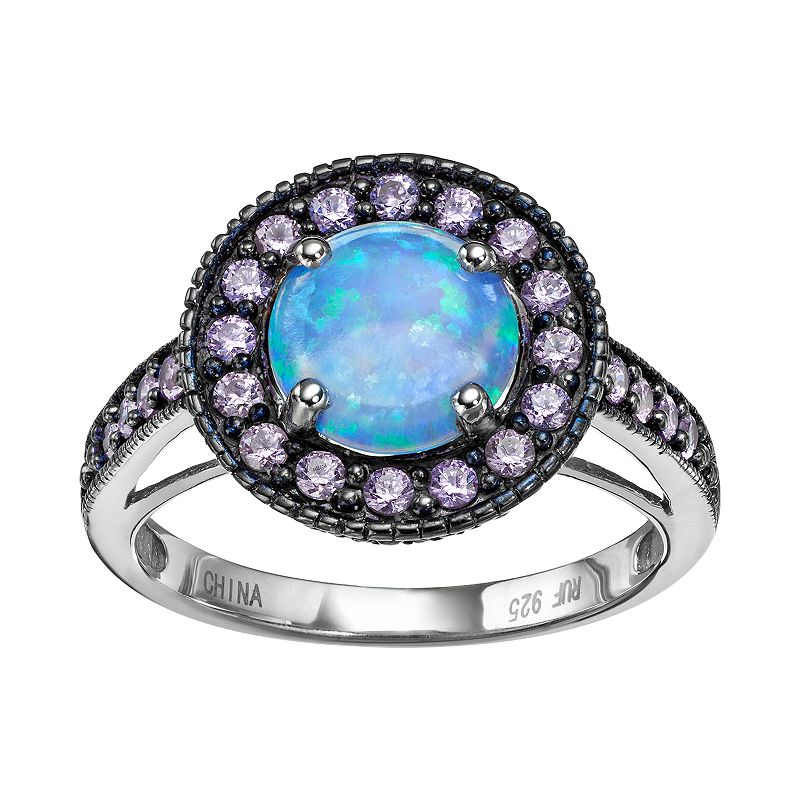 Sterling Silver Simulated Blue Opal and Lavender Cubic Zirconia Halo Ring