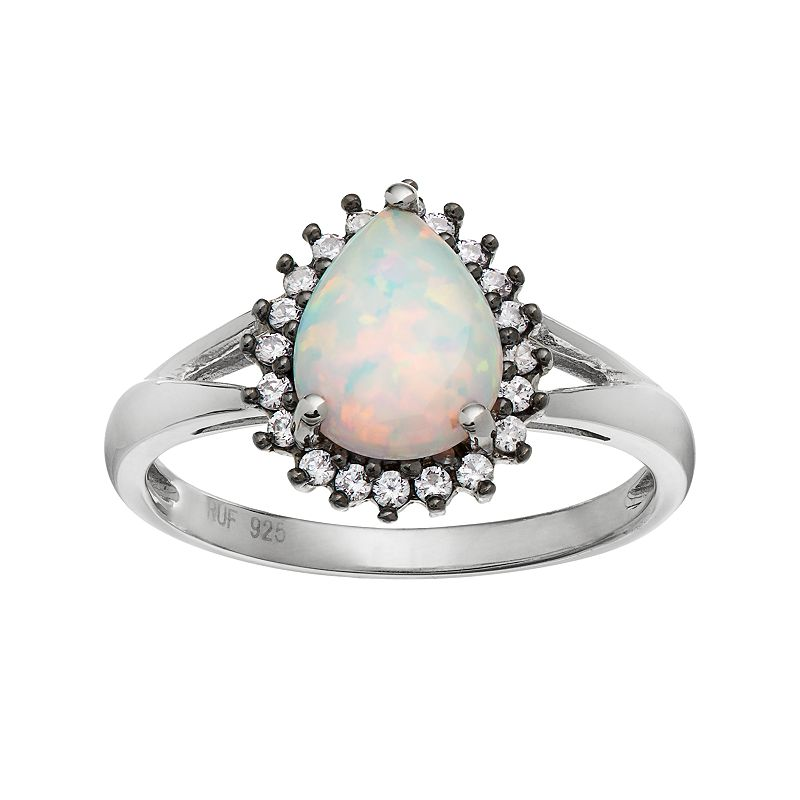 Sterling Silver Simulated Opal and Lavender Cubic Zirconia Teardrop Halo Ring