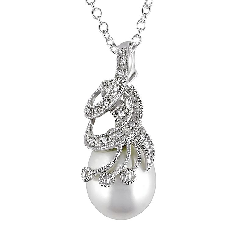 Freshwater Cultured Pearl and Diamond Accent Sterling Silver Pendant Necklace