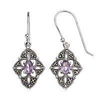 Tori Hill Amethyst & Marcasite Sterling Silver Kite Drop Earrings