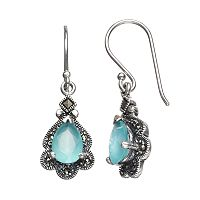 Tori Hill Simulated Apatite & Marcasite Sterling Silver Teardrop Earrings