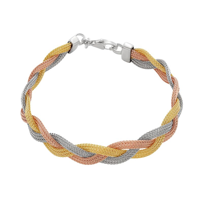 14k Gold Over Silver and Sterling Silver Tri-Tone Mesh Braided Bracelet