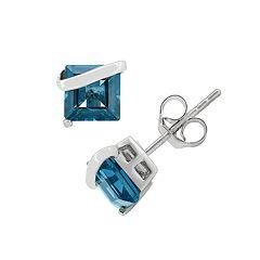 London Blue Topaz Sterling Silver Stud Earrings