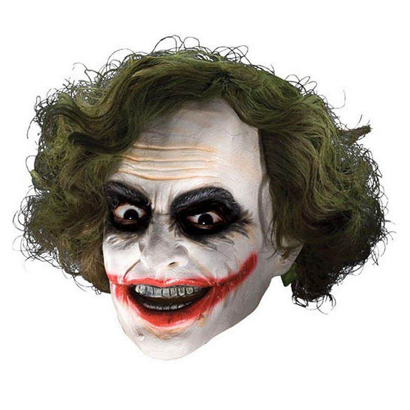 Batman Dark Knight Joker Mask with Hair - Adult