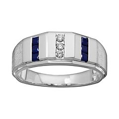Lab-Created Sapphire & 1/10 Carat T.W. Diamond Sterling Silver Wedding Ring Men by