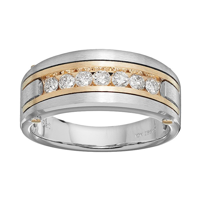 1 2 Carat TW Diamond 10k Gold Two Tone Wedding Ring