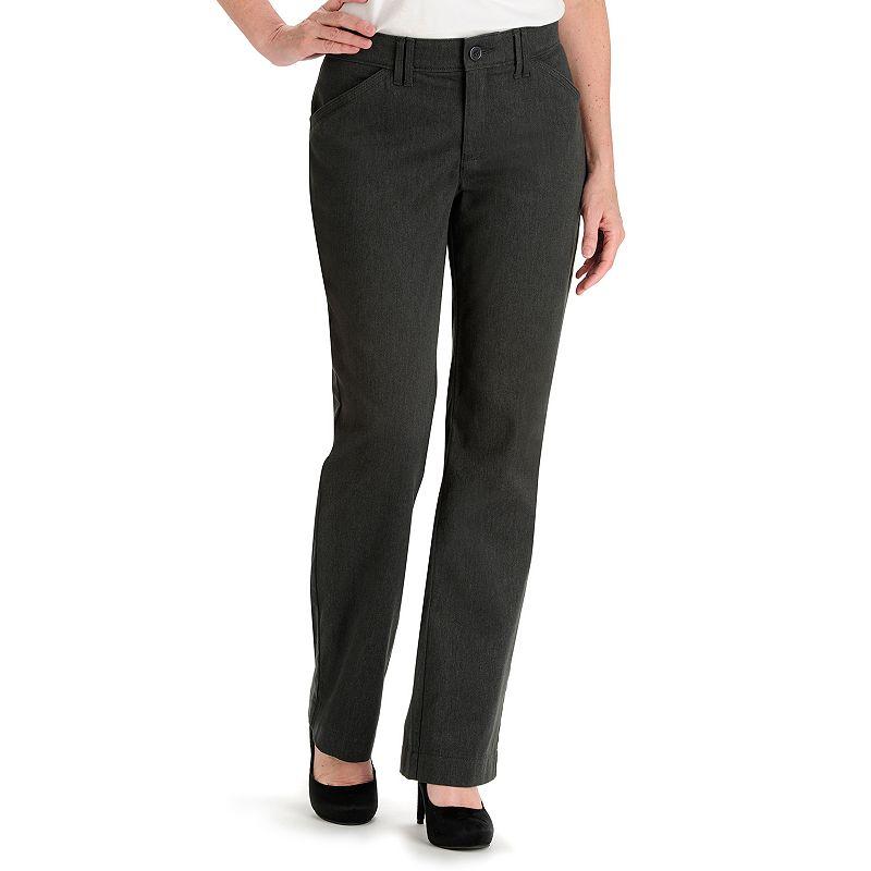 Lee Kassidy Comfort Waist Gray Twill Straight-Leg Pants - Women's