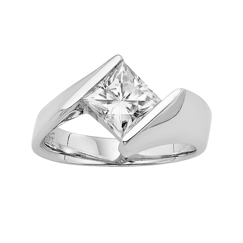 Forever Brilliant Lab-Created Moissanite Solitaire Bypass Engagement Ring in 14k White Gold (1 3/4 Carat T.W.)