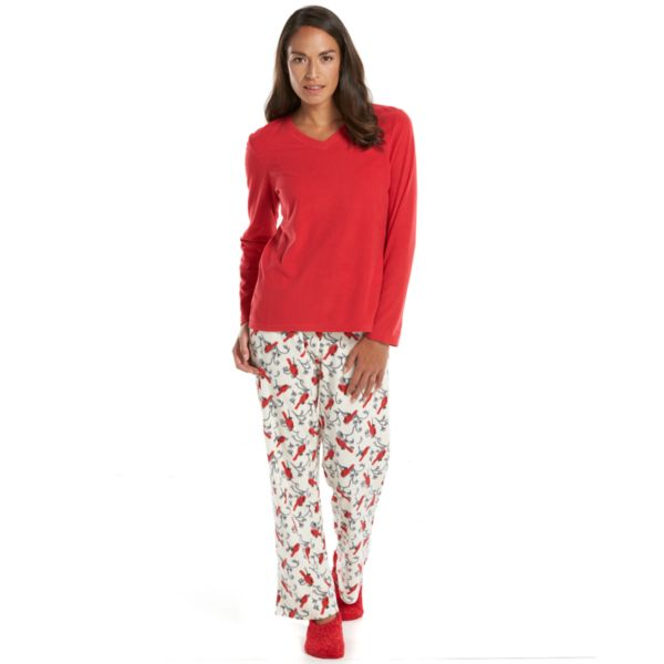 Women's Goodnight Kiss Pajamas: 3-pc. Printed Microfleece Pajama Gift Set