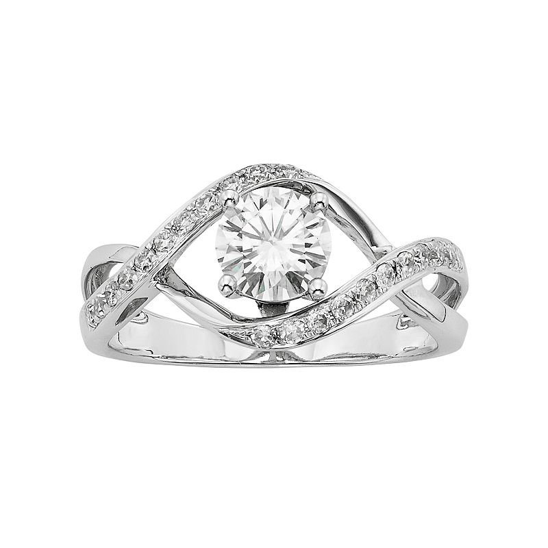 Forever Brilliant Lab-Created Moissanite Infinity Engagement Ring in 14k White Gold (1 Carat T.W.)