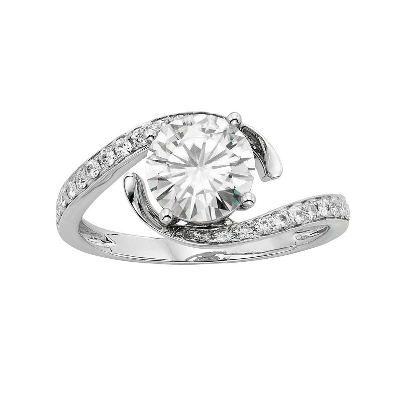 Forever Brilliant 1 3/4 Carat T.W. Lab-Created Moissanite 14k White Gold Swirl Ring