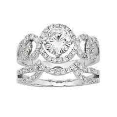 Forever Brilliant 14k White Gold 2 Carat T.W. Lab-Created Moissanite Swirl Engagement Ring Set