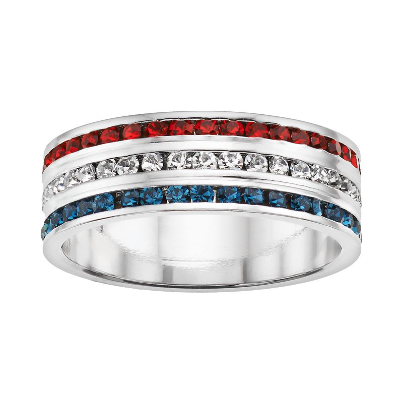 Traditions Red, White and Blue Swarovski Crystal Sterling Silver Multirow Band