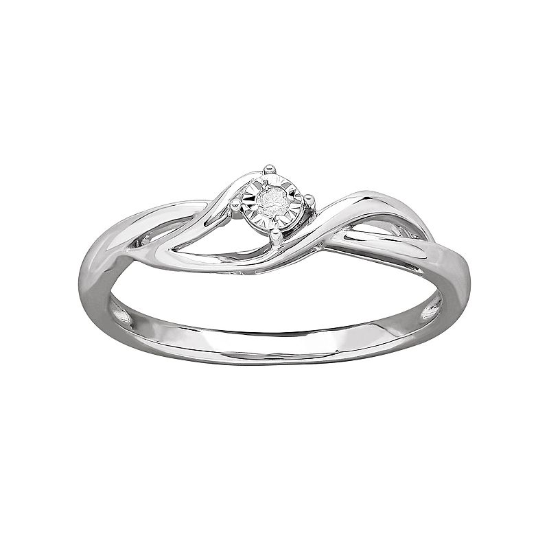 DIAMORE Diamond Accent Sterling Silver Bypass Ring