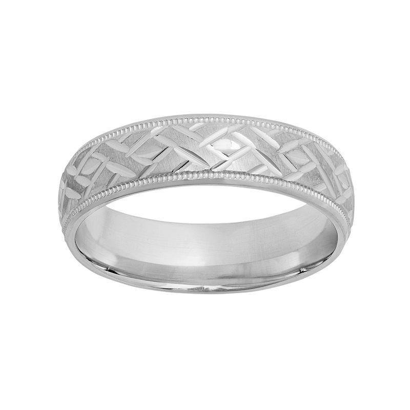Sterling Silver Basket Weave Wedding Band - Men