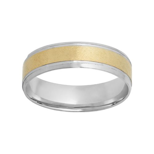10k Gold and Rhodium-Plated 10k Gold Striped Wedding Band - Men