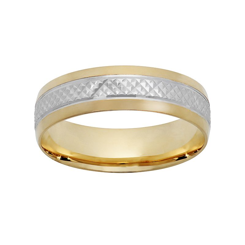 10k Gold and Rhodium-Plated 10k Gold Textured Wedding Band - Men