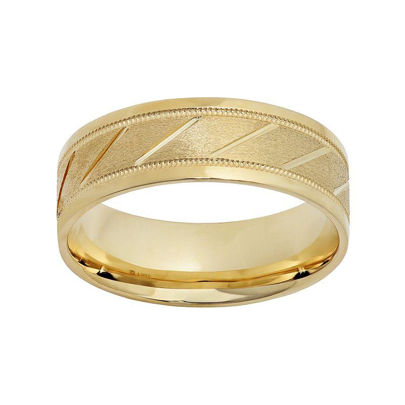 10k Gold Diagonal Stripe Wedding Band - Men