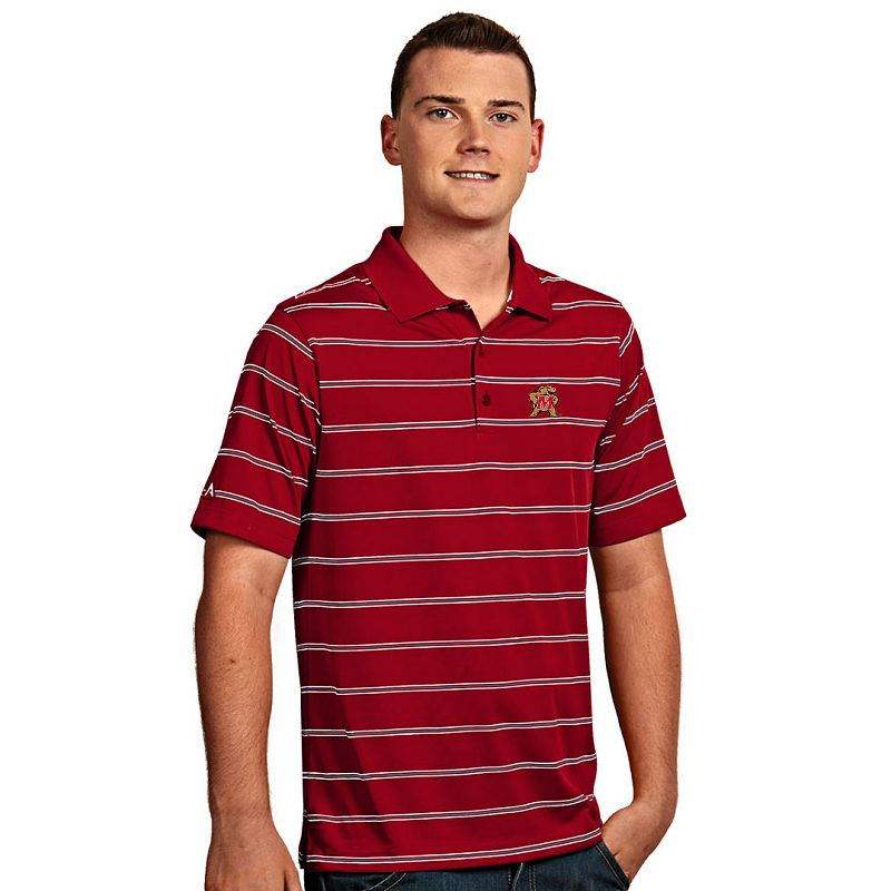 Men's Antigua Maryland Terrapins Deluxe Striped Desert Dry Xtra-Lite Performance Polo