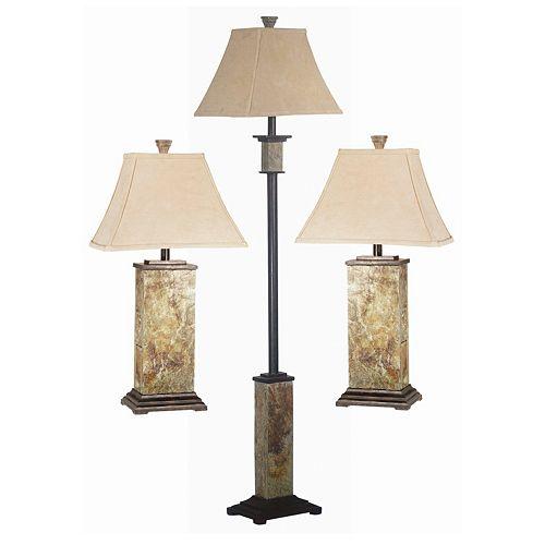 bennington 3 piece table and floor lamp set. Black Bedroom Furniture Sets. Home Design Ideas