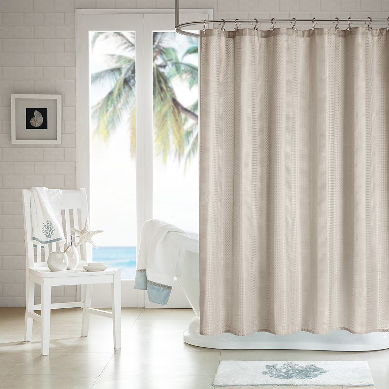 H2Ology 3M Scotchgard Waffle Weave Fabric Shower Curtain