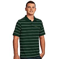 Men's Antigua Oregon Ducks Deluxe Striped Desert Dry Xtra-Lite Performance Polo