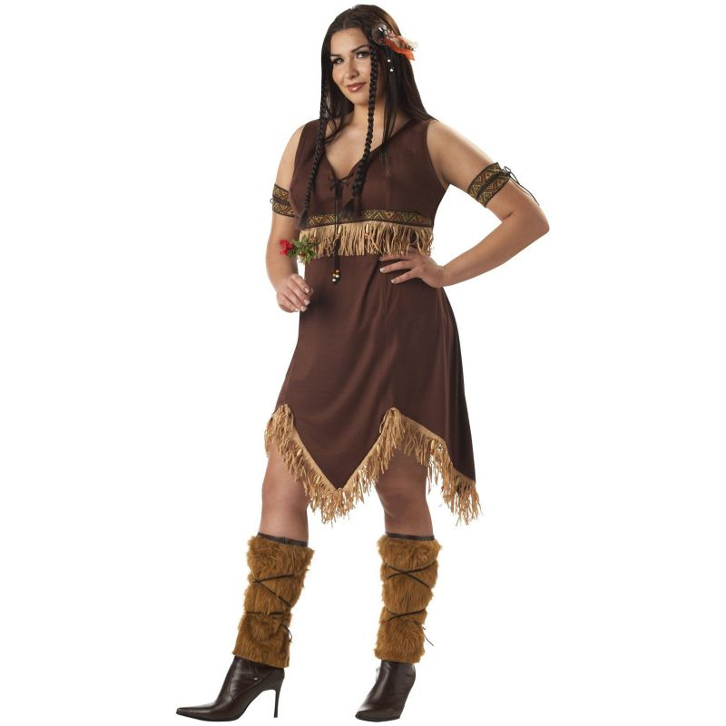 Earth Princess Costume - Adult Plus (Beige/Khaki)