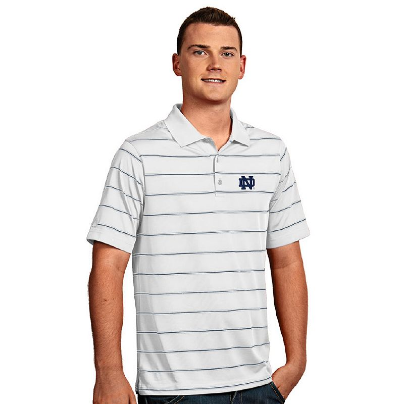 Men's Antigua Notre Dame Fighting Irish Deluxe Striped Desert Dry Xtra-Lite Performance Polo