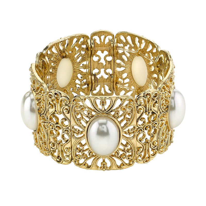 1928 Gold Tone Simulated Pearl Stretch Bracelet