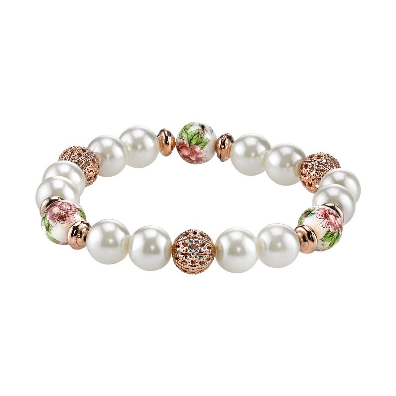1928 Bead and Flower Stretch Bracelet