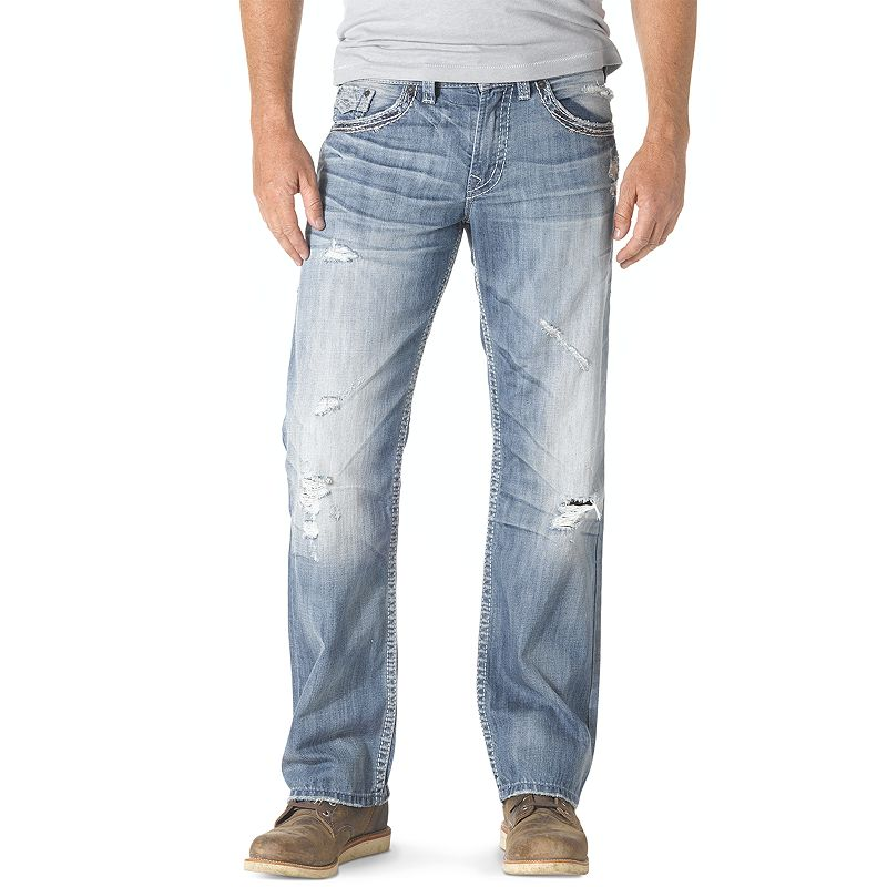 Men's Silver Jeans Zac Flap Relaxed Straight Jeans