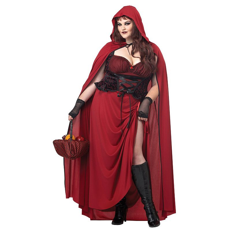 Dark Red Riding Hood Costume - Adult Plus