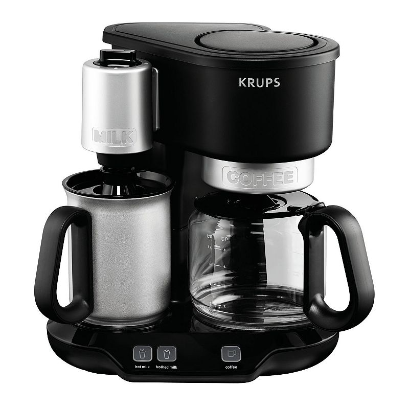 KRUPS LATTECCINO 10-CUP COFFEE MAKER WITH MILK FROTHER (BLACK)