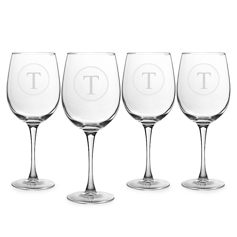 Cathy's Concepts Circle Monogram 4-pc. White Wine Glass Set