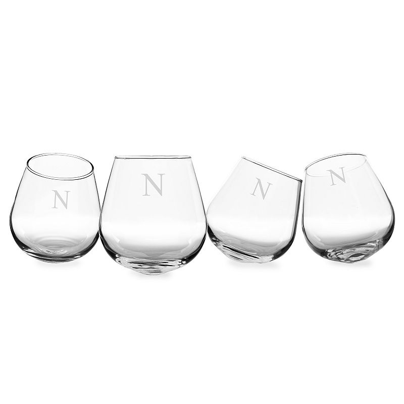 Cathys Concepts Monogram 4 Pc Tipsy Wine Glass Set Bottoms | Pants and Clothing