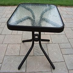 Glass Top Outdoor End Table by