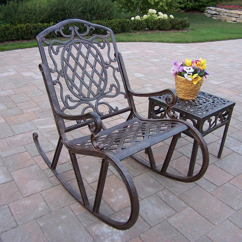 Mississippi Cast Aluminum Outdoor Rocking Chair 2-piece Set