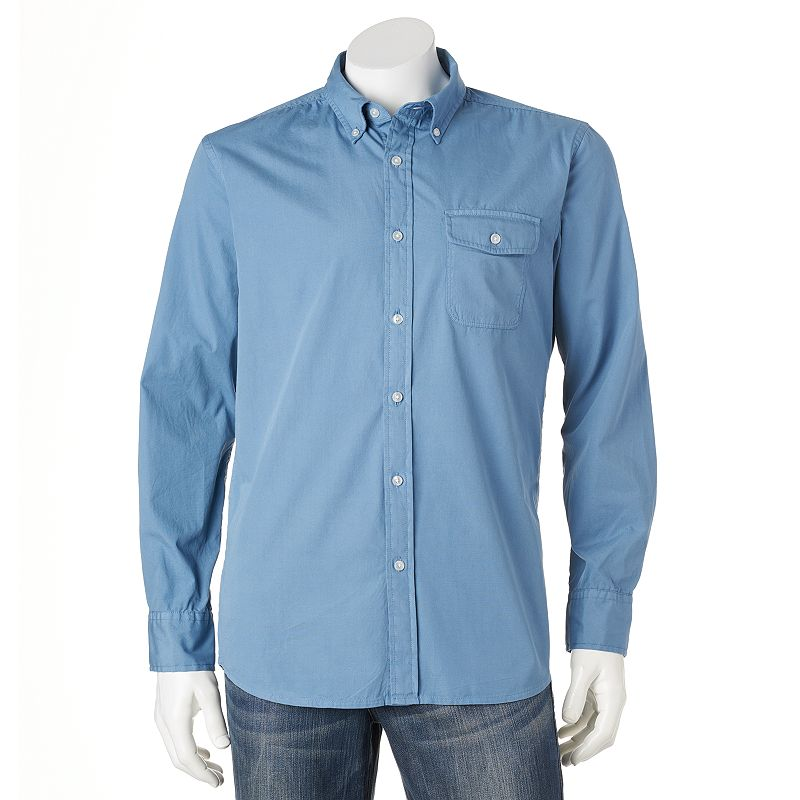 Men's Croft & Barrow® Solid Crosshatch Casual Button-Down Shirt