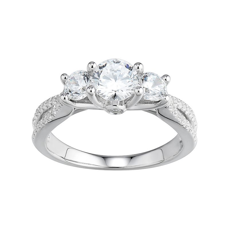 DiamonLuxe Simulated Diamond 3-Stone Engagement Ring in Sterling Silver (1 1/2 Carat T.W.)