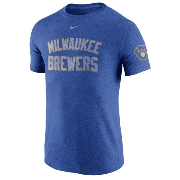 Men's Nike Milwaukee Brewers Tri-Blend DNA Tee