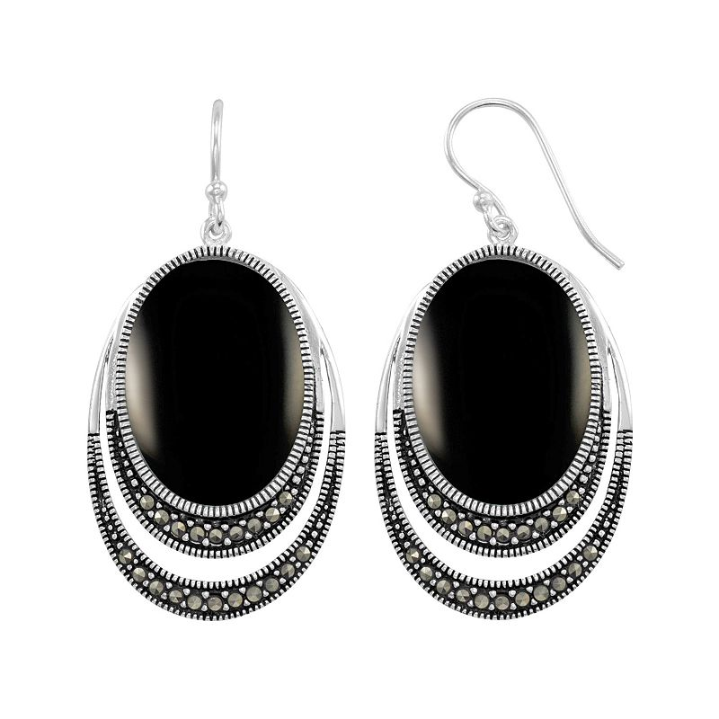 Le Vieux Onyx & Marcasite Silver-Plated Oval Drop Earrings