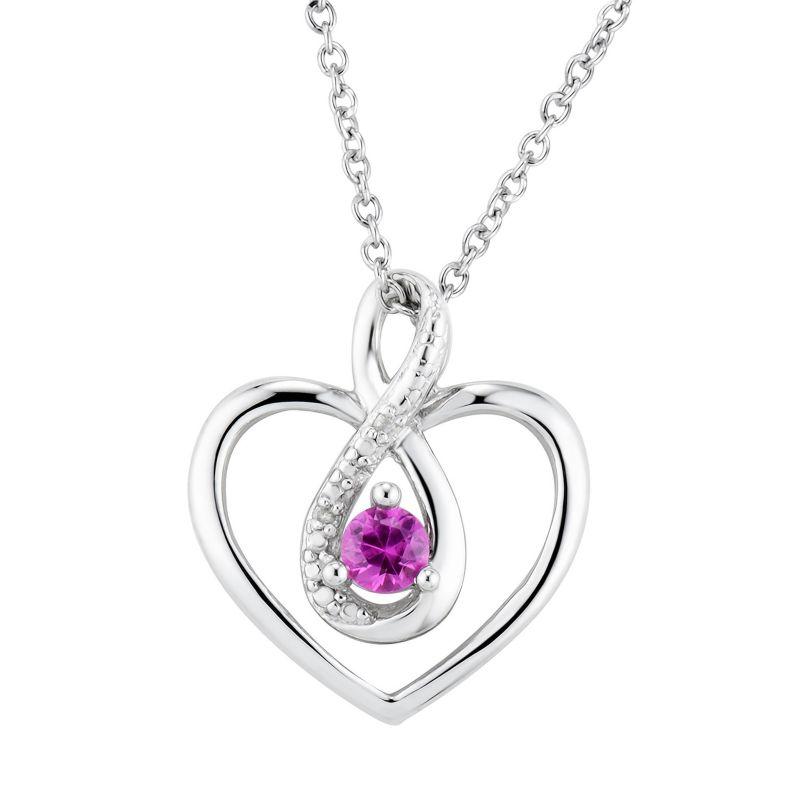 pink sapphire silver heart necklace kohls