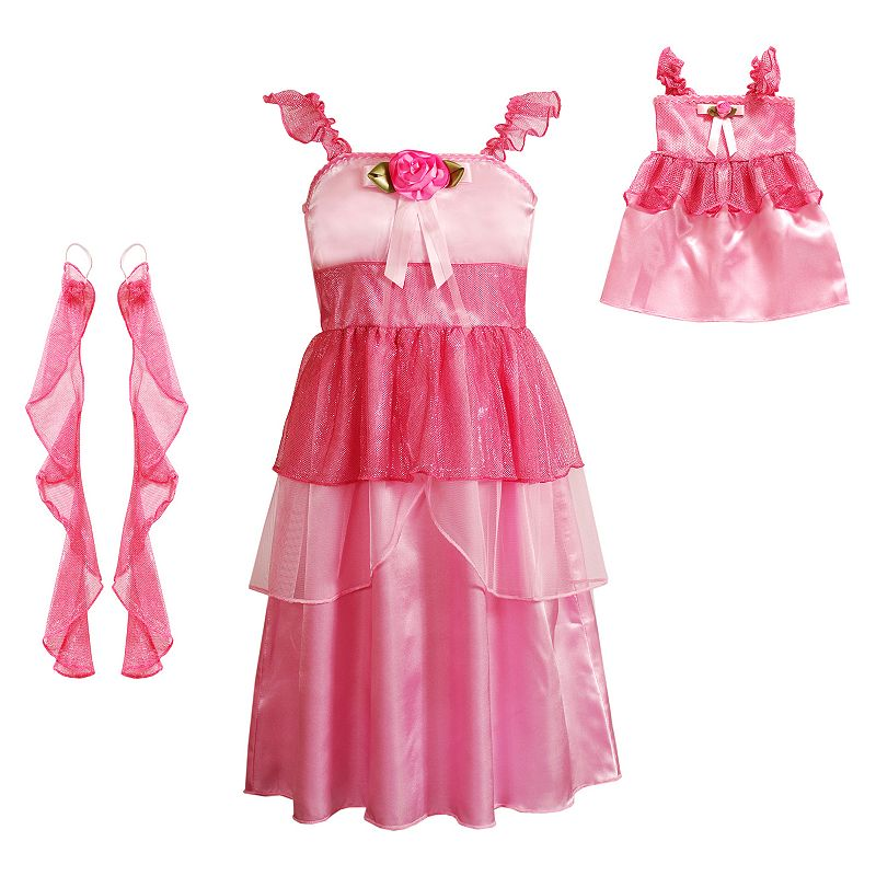 Girls Dollie & Me Flutter Sleeve Satin Rose Princess Dress