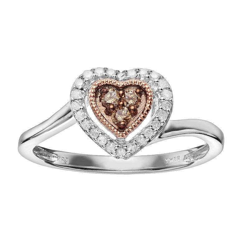 1/6 Carat T.W. Diamond Sterling Silver & 18k Rose Gold Over Silver Halo Heart Ring
