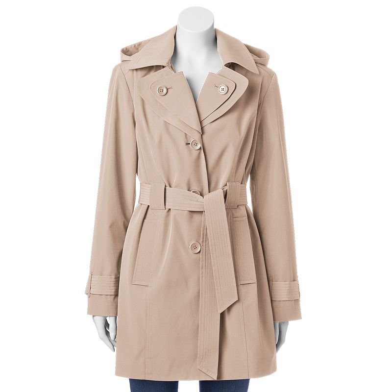 Petite Towne by London Fog Hooded Trench Raincoat