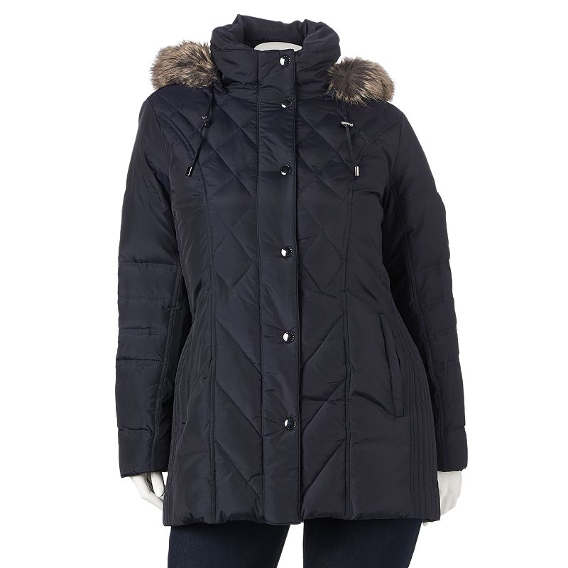 Plus Size Towne by London Fog Hooded Down Puffer Coat