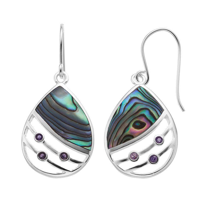 Abalone & Amethyst Sterling Silver Teardrop Earrings