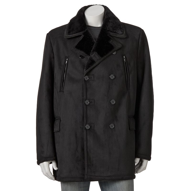 Big & Tall Excelled Faux-Shearling Pea Coat